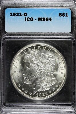 1921 - D ICG MS64 Morgan Silver Dollar!! #B11862