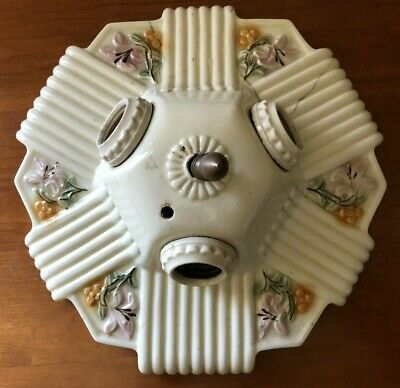 art deco porcelain Ceiling Light Fixture 3  Bulb vintage for restoration