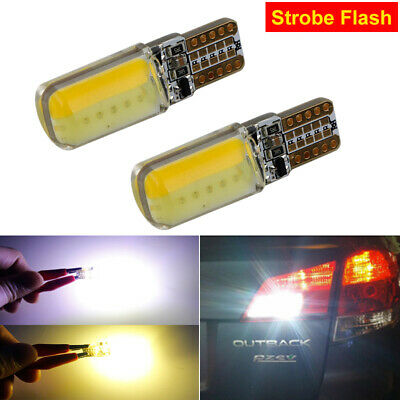 2x T10 W5W 194 Car Auto COB LED Light Lamp 4 Mode Strobe Flash Dual Colour