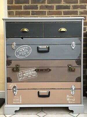 Hand-Painted Pine Chest Of Drawers - Stacked Vintage Suitcases - Shabby Chic