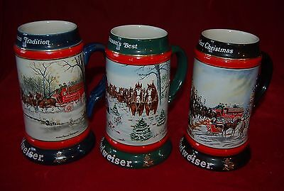 Beer STEINS MUGS Budweiser Holiday Theme 1990 1991 1992 Lot of 3