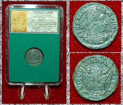 Ancient Roman Empire Coin Of Constans Two Victories With Wreaths And Palms