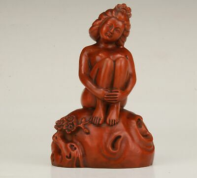 Precious Chinese Boxwood Handmade Carving Beautiful Woman Art Statue Collection