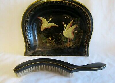 Antique hand painted swans black metal dust crumb tray & wood brush