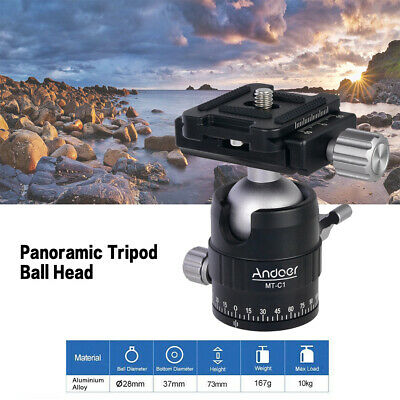Andoer MT-C1 Compact Size Panoramic Tripod Ball Head Adapter 360° Rotation D7W4