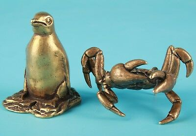 2 Unique Chinese Bronze Statue Solid Penguin Crab Collection Gift Decoration