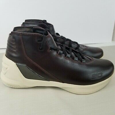 0379c7ab3d32 Under Armour Men s UA Curry 3 Lux Limited Edition Oxblood Leather Shoes Sz  9.5