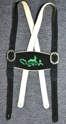 Lederhosen Suspenders - Black leather with green embroidery