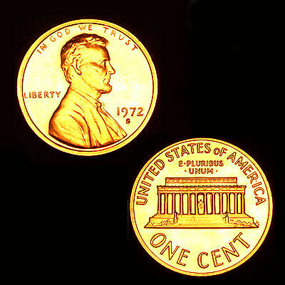 1972 S GEM BU PROOF Lincoln MemoriaL BRILLIANT UNCIRCULATED PENNY US COIN PF
