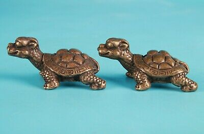 2 Rare Chinese Bronze Hand-Carved Tortoise Animal Statue Figurine Old Collection