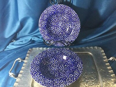 CALICO Pattern, Cobalt Blue bowls, Set Of 2,  Made In Staffordshire England.
