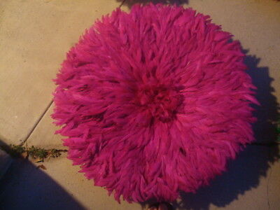 "Authentic 25"" / Fuchsia / African Feather Headdress / Juju Hat / 1st. Quality"
