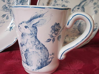 Maxcera Blue White Toile Easter Bunny Rabbit Mugs Cups Set Of 2 New Rare
