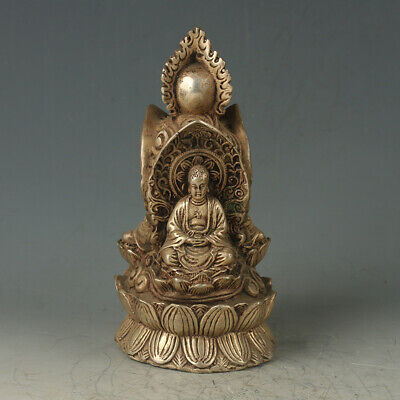 Old Chinese Antique Silver Copper Carved Buddha Statue GL465
