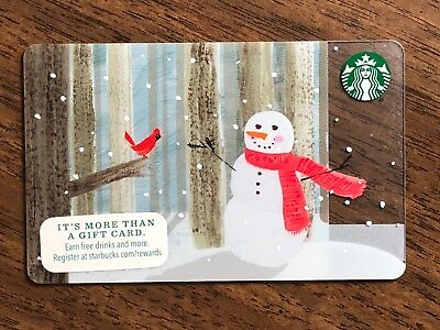 Starbucks Gift Card 2015 Snowman Red Bird Cardinal Snow Flake Holiday No $ Value