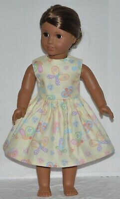 Pale Yellow Spring Butterfly Doll Dress Clothes Fits American Girl Dolls