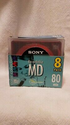 NEW! Sony Color collection  Recordable MD 8 Pack 80 Min  Hard to Find