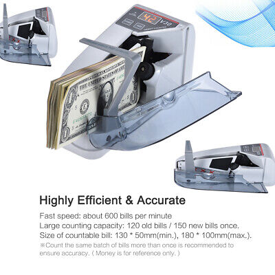Handy Bill Cash Money Counting Currency Counter Machine 3 Digit LED Display Y0E6