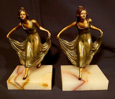 Pair Of Art Nouveau / Art Deco Metal On Marble Nude Lady Skirtholder Bookends