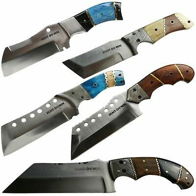 "9"" Handmade Full Tang Hunting Knife Tanto Blade Wood Handle Real Leather Sheath"