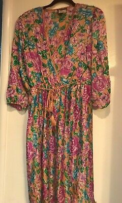 2f38b5f8963 VTG Vintage 80s Diane Freis Original Beaded Floral Dress Peach w  Pink    Blue