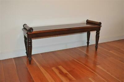 Superb antique William IV and later mahogany window seat bench restored c.1830's