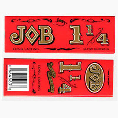 2 Packs JOB Red 1-1/4 Rolling Papers 1.25 slow burning 24 Lvs/pk