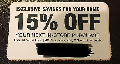 ONE 1x Home Depot 15% OFF Coupon In-Store ONLY Save up to $200