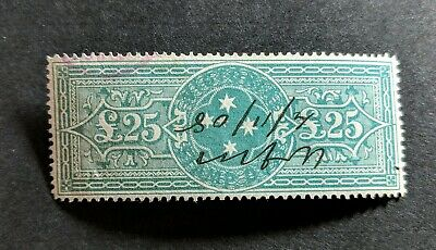 Rare Australia Victoria State Stamp £ 25 Pounds Green Stamp Duty Unchecked