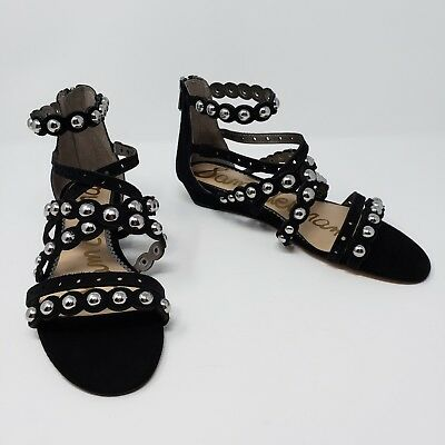 ecfb76549c266 Sam Edelman Dustee Black Suede Leather Gladiator Sandals Silver Studs Womens  8