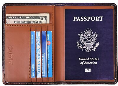RFID Blocking Leather Passport Holder Cover & Travel Wallet ID Card Case