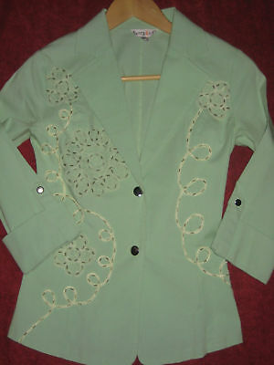 As New 8 apple green jacket light stretchy fitted blazer Guipurre lace & beading