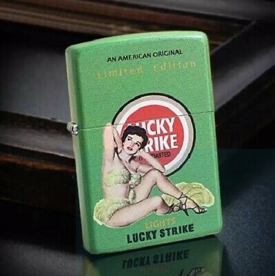 New Green Matte Lucky Strike Pinned Girl Limited Edition Zippo Lighter -AU Stock