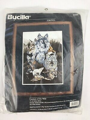 """Canines of the Wild Crewel Embroidery Kit 41346 by Bucilla 17""""x 23"""" Sealed 1996"""