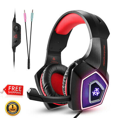 3.5mm Gaming Headset For PS4 Xbox One Laptop PC Mic Headphone LED Bass Surround
