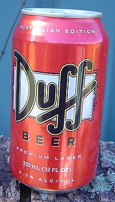 Duff Beer Can Australian Edition Made in USA Bottom Opened Empty Limited Edition