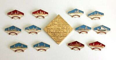 ENAMEL PIN SET: Rare Complete set of 13 Soviet pins of Russian North Star Ships
