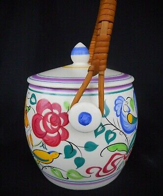 Beautiful Poole Pottery Biscuit Barrel / Cane Handle - Hand Painted - Signed !