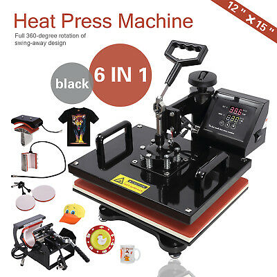 "6in1 12""X15"" Digital Heat Press Machine Transfer Sublimation Shirt/Mug/Hat Plate"