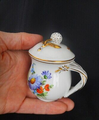 A Petite Dresden Pot De Creme ~ Decorated With Beautiful Flowers - Quality Item
