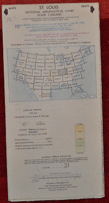 Vintage 1974 ST Louis Sectional Aeronautical Aviation Chart Map - 10th Edition