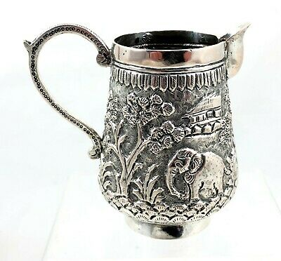 Stunning Antique Indian Silver Jug With Ornate Animal And Foliage Decoration