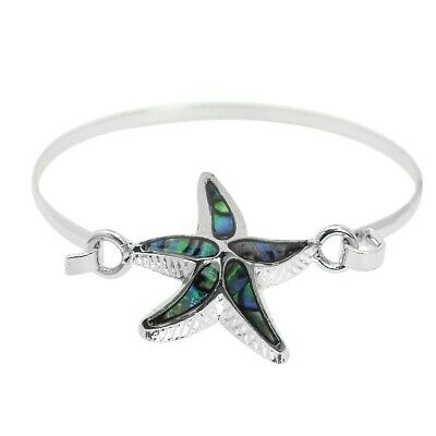 5465496448a Starfish Bracelet Hook Bangle Texture Metal SILVER ABALONE SHELL Beach  Jewelry