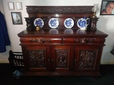 large solid oak sideboard Victorian gothic seriously heavy