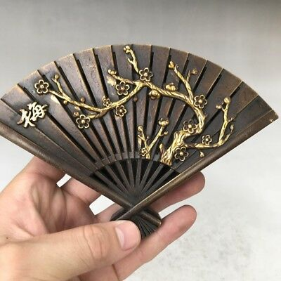 OLD CHINESE Copper HANDMADE HAND PLUM PATTERN FAN shape Incense box