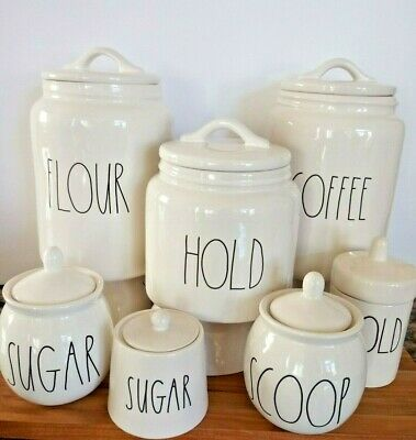 """Rae Dunn Canister LL FLOUR, TEA, EAT, COFFEE, SHARE and More """"YOU CHOOSE"""" 15 NWT"""