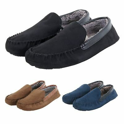 Mens Faux Suede Moccasin Slippers Famous Chainstore Over-makes Black Navy Tan