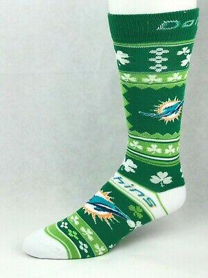 862e95321d14 Miami Dolphins For Bare Feet St. Patrick's Day Clover Green Holiday Crew  Socks