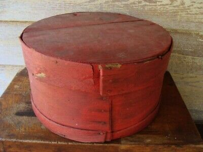 Antique Primitive old red painted Wood Pantry Box AAFA