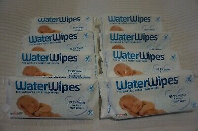 Waterwipes Baby Wipes Sensitive Chemical-Free Natural X 8 Packs - 480 Wipes